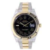 Rolex DATEJUST II 41mm 18K Yellow Gold Bezel Black Roman Dial