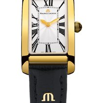 Maurice Lacroix Fiaba Rectangular Gold Hands, Gold Case, Black...