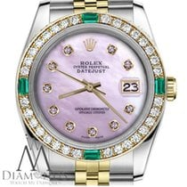Rolex Ladies Rolex 36mm Datejust 2 Tone Pink Mop Dial With...
