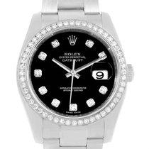 Rolex Datejust Black Diamond Dial Bezel Unisex Watch 116244...