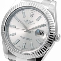Rolex SS 41mm Datejust ll Silver Stick - 116334 Mint