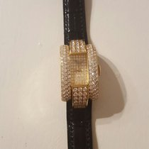Chopard La Strada Yellow Gold And Pave Baguette Diamonds Quartz