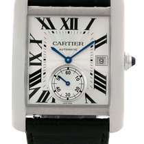 Cartier Tank MC Silver Dial Black Leather Band Automatic Men...