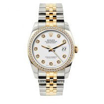 Rolex Datejust Men's 36mm White Dial Yellow Gold And...