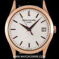 Patek Philippe 18k Rose Gold Silver Dial Calatrava Gents 5296R