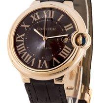 Cartier Ballon Bleu 18k Rosegold CS Brown Leather Men Watch...