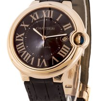 Cartier Ballon Bleu 18k Rosegold CS Brown Leather Men Watch...