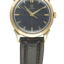 """Omega 9CT GOLD WITH BLACK """"HONEYCOMB"""" DIAL"""