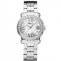Chopard 278509-3008 Happy Sport 30mm Diamonds Steel Lady