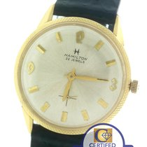 Hamilton 22 Jewels 14K Yellow Gold 33mm Leather Watch