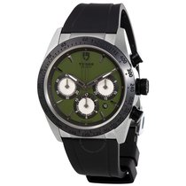 Tudor Fastrider Chrono Green Dial Black Rubber Men's Watch