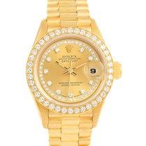 Rolex President Ladies 18k Yellow Gold String Diamond Watch 69138