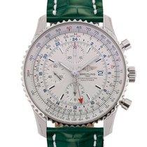 Breitling Navitimer World 46 Chronograph Silver Dial Green...