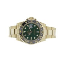 Rolex 116718 LN 18k Yellow Gold GMT Master 2 40mm Green Dial