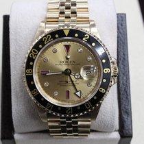 Rolex GMT Master II 16718 Serti Diamond & Ruby Dial 18K YG