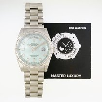 Rolex 118366 Day-Date Ice Blue Diam Dial Baguette Diam Bezel Plat