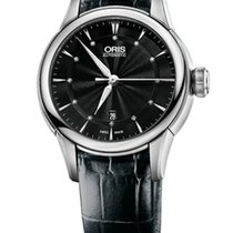 Oris Artelier Date Diamonds Black Dial and Leather Bracelet