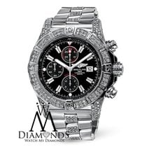Breitling Mens Breitling Super Avenger A13370 Black Dial Watch...