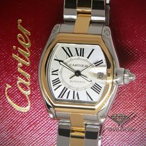 Cartier Roadster 18k Yellow Gold/Steel Silver Dial Mens...