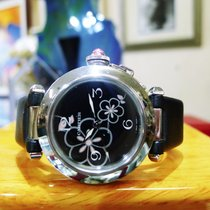 Cartier Pasha C Stainless Steel Black Flower Dial Ladies Watch...
