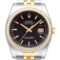Rolex Datejust 36 Edelstahl Gelbgold Diamant 116243 Schwarz Jub