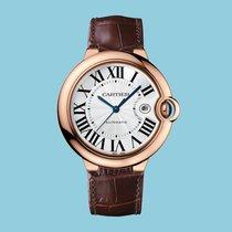 Cartier BALLON BLEU DE CARTIER 42 mm Rotgold Datum Leder -NEU-