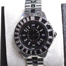 Dior Christal Cd113115m001 Ss Watch With Diamonds & Black...