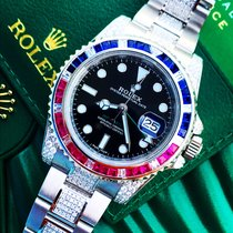 Rolex GMT Master 2 Custom Pepsi Diamonds SARU After set &...
