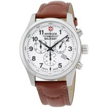 Wenger Swiss Military White Dial Leather Strap Men's Watch...