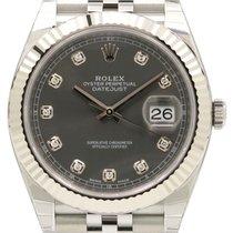 Rolex Datejust 41 126334 Dark Rhodium Diamond Fluted White...