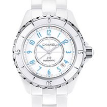 Chanel H3827 J12 Blue Light 38mm Automatic in White Ceramic...