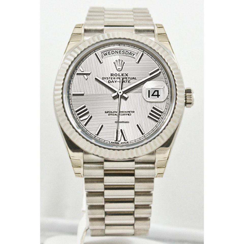 3c8f2b792ea Rolex Unused Rolex Men s 40mm President Model 228239 18k White Gold  Presidential New Style Heavy Band Silver Quadrant Motif Dial With Roman  Markers   A ...