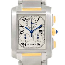 Cartier Tank Francaise Steel 18k Yellow Gold Chrongraph Watch...