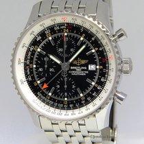 Breitling Navitimer World GMT Chrono Steel Black Dial Watch...
