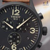 Tissot Chrono XL 45mm Black Steel on Leather Black Arabic Mens