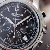 Longines Saint-Imier Chronograph Steel on Leather Black...