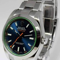 Rolex Milgauss 40mm Steel Blue Dial/Green Crystal Watch 2015...