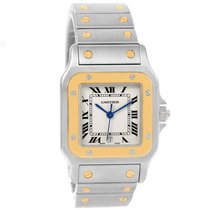 Cartier Santos Galbee Large Steel 18k Yellow Gold Quartz Watch...