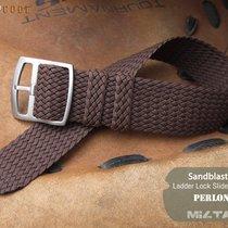MiLTAT Perlon Watch Strap, 20mm Brown, E Ladder Buckle