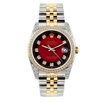 Rolex Datejust Men's 36mm Red & Black Dial Gold And...