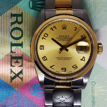 Rolex Datejust 18k Yellow Gold & Steel Champagne Dial Mens...