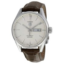 タグ・ホイヤー (TAG Heuer) Carrera Silver Dial Brown Leather Mens...