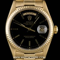 Rolex 18k Yellow Gold Black Dial Day-Date Gents 18038