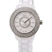 Dior VIII White Ceramic and Stainless Steel Diamond Ladies...
