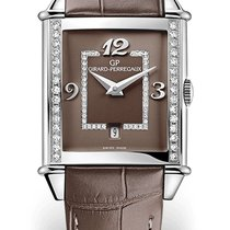 Girard Perregaux VINTAGE 1945 LADY Steel Dial Brown Alligator...
