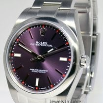 Rolex Oyster Perpetual Steel Automatic Mens Watch NEW Red...