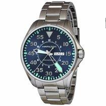Hamilton KHAKI AVIATION PILOT AUTO Steel-Blue Day Date H-64715145