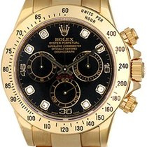 Rolex Cosmograph Daytona Men's 18k Gold Watch 116528 Black...