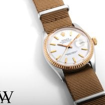 Rolex 36mm TT Datejust White Stick Dial Beige NATO 1601 Non...