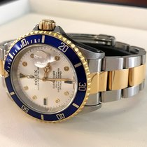Rolex Oyster Submariner Gold Steel Silver Serti Dial 40 mm (1994)